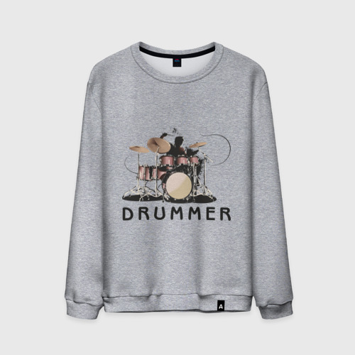Мужской свитшот с принтом Drummer, вид спереди #2