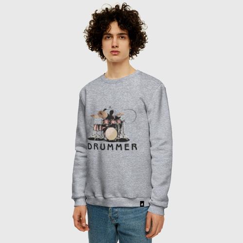Мужской свитшот с принтом Drummer, фото на моделе #1