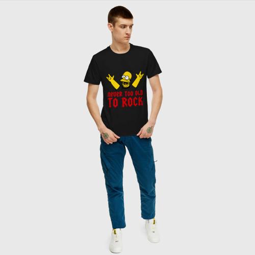 Мужская футболка с принтом Simpson Rock, вид сбоку #3