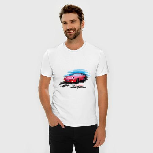 Мужская футболка премиум с принтом Toyota supra красная, фото на моделе #1