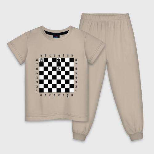 Детская пижама с принтом Комбинация шах и мат, вид спереди #2