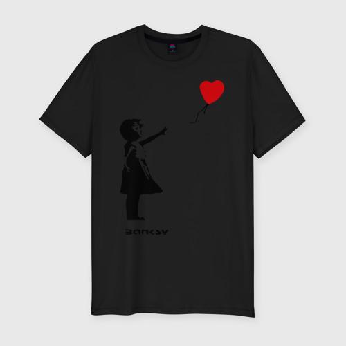 Мужская футболка премиум Девочка с шариком-сердечком