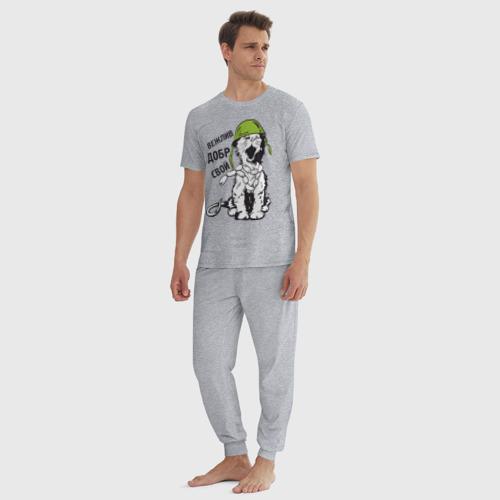 Мужская пижама хлопок с принтом Вежлив, добр, свой, вид сбоку #3