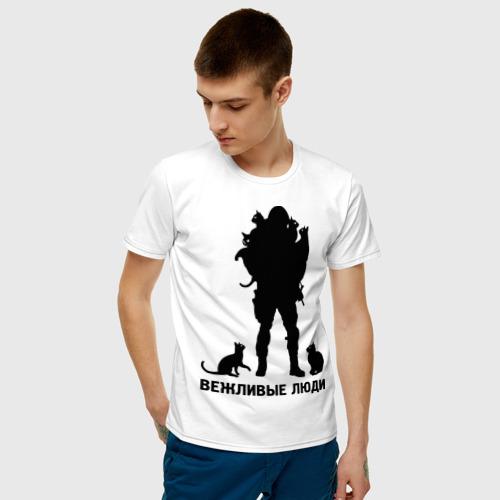 Мужская футболка с принтом Вежливые люди, фото на моделе #1