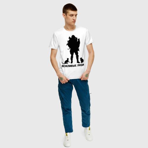 Мужская футболка с принтом Вежливые люди, вид сбоку #3