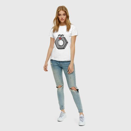Женская футболка с принтом Гайка, вид сбоку #3