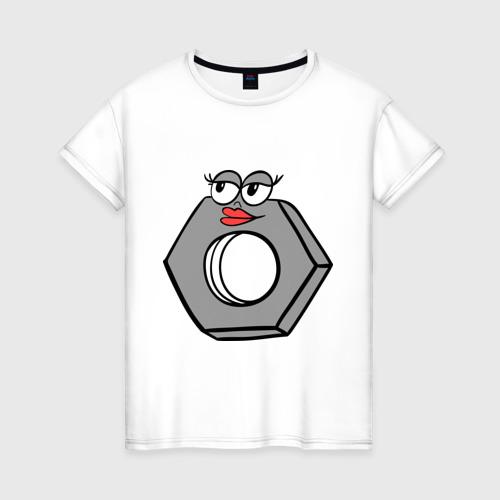 Женская футболка с принтом Гайка, вид спереди #2