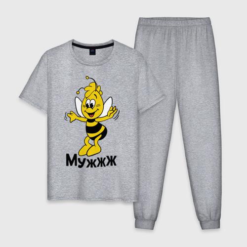 Мужская пижама хлопок с принтом Муж, вид спереди #2