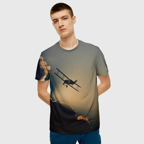 Мужская 3D футболка с принтом Покоритель небес, фото на моделе #1