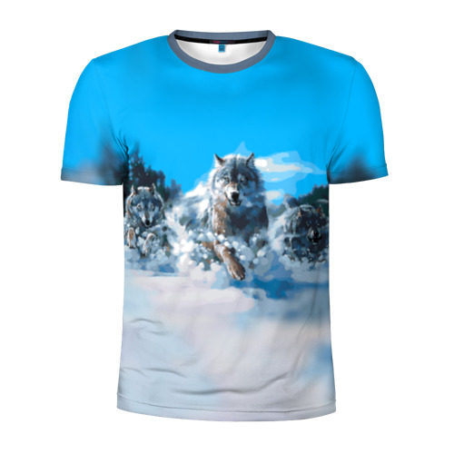 Мужская футболка 3D спортивная с принтом Волчья охота, вид спереди #2