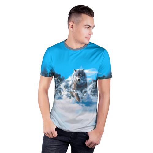 Мужская футболка 3D спортивная с принтом Волчья охота, фото на моделе #1