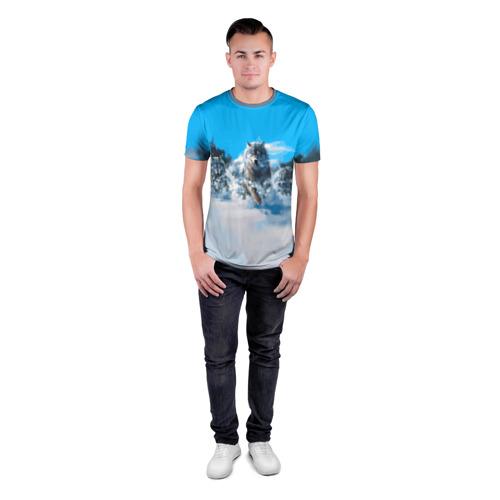 Мужская футболка 3D спортивная с принтом Волчья охота, вид сбоку #3