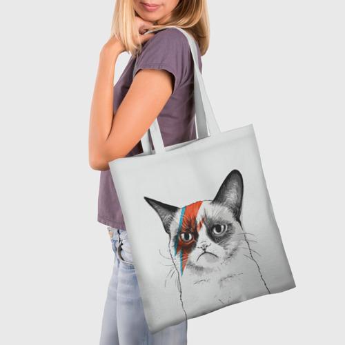 Сумка 3D повседневная с принтом Grumpy cat (David Bowie), фото на моделе #1