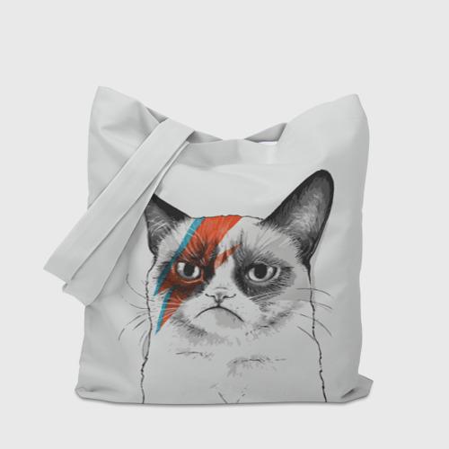 Сумка 3D повседневная с принтом Grumpy cat (David Bowie), вид сбоку #3