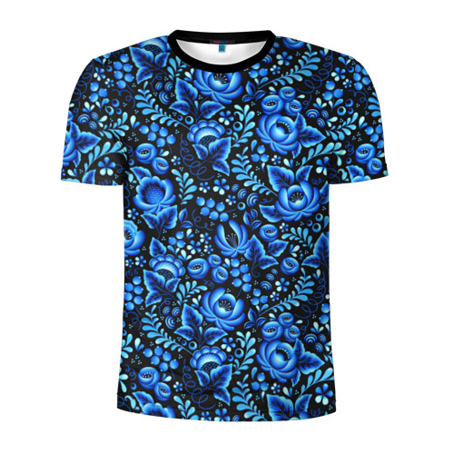 Мужская футболка 3D спортивная с принтом Красивая гжель, вид спереди #2