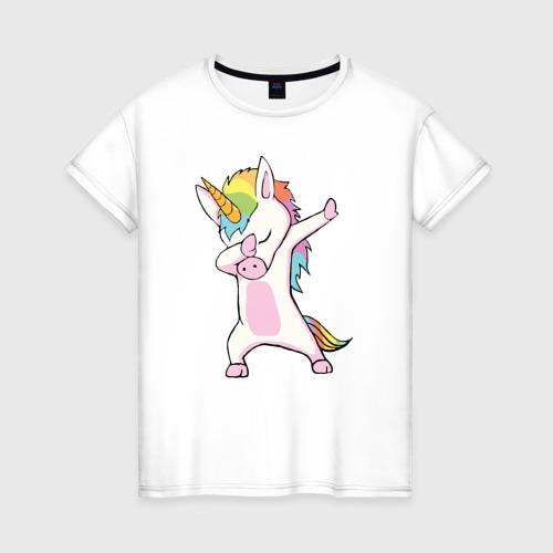 Женская футболка Единорог радуга