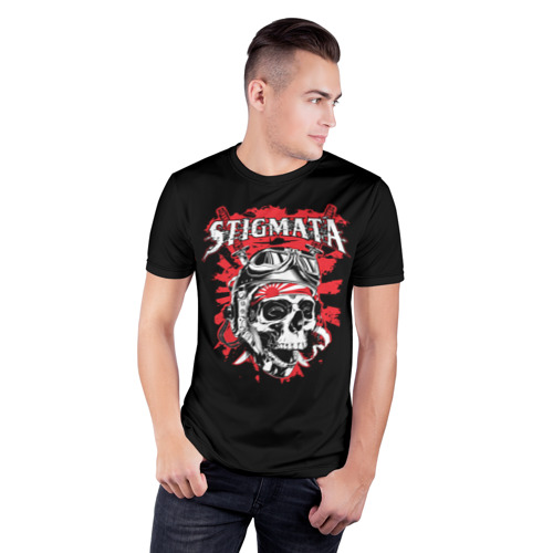 Мужская футболка 3D спортивная с принтом Stigmata, фото на моделе #1