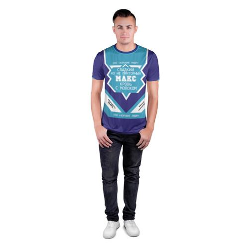Мужская футболка 3D спортивная с принтом Макс - банка сгущенки, вид сбоку #3