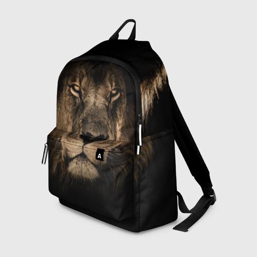 Рюкзак 3D с принтом Лев, вид спереди #2