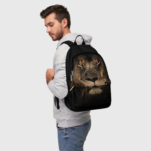Рюкзак 3D с принтом Лев, фото на моделе #1