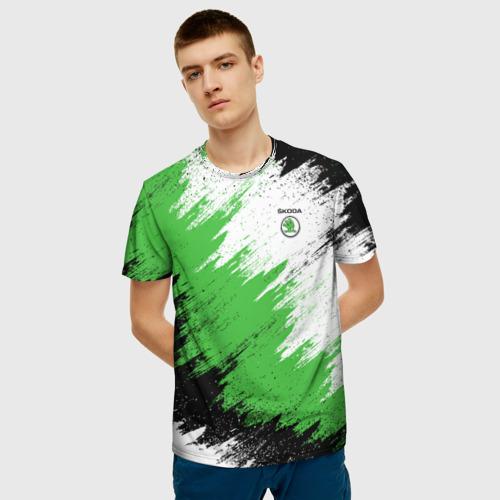 Мужская 3D футболка с принтом Skoda, фото на моделе #1