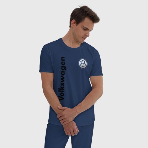 Мужская пижама хлопок с принтом Volkswagen, фото на моделе #1