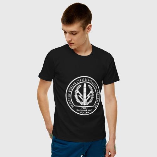 Мужская футболка с принтом Шеврон РВСН (двусторонний), фото на моделе #1