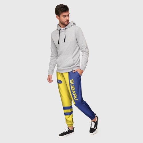 Мужские брюки 3D с принтом Subaru, фото на моделе #1