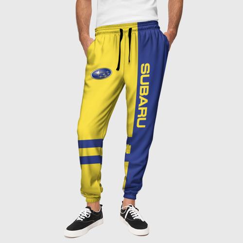 Мужские брюки 3D с принтом Subaru, вид сбоку #3