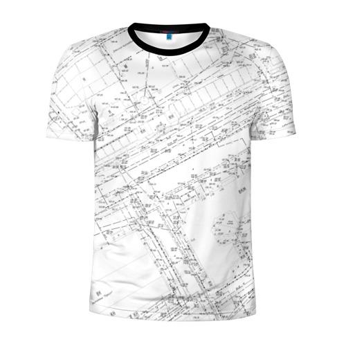Мужская футболка 3D спортивная с принтом Топография01, вид спереди #2