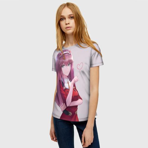Женская 3D футболка с принтом Darling heart, фото на моделе #1