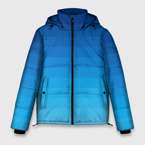 Зимняя куртка-пуховик  с принтом Синие полосы, вид спереди #2