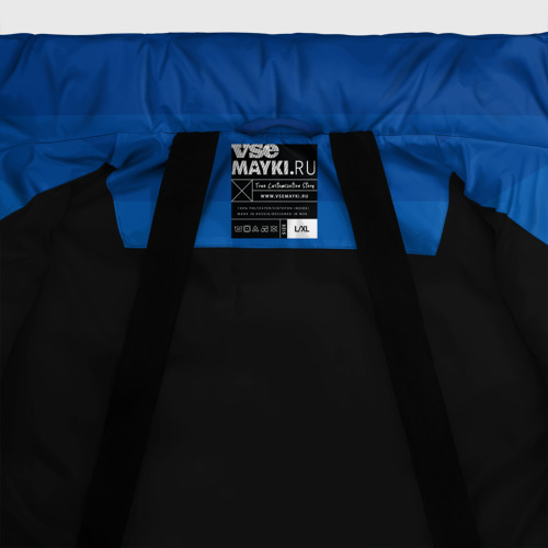 Зимняя куртка-пуховик  с принтом Синие полосы, фото #4