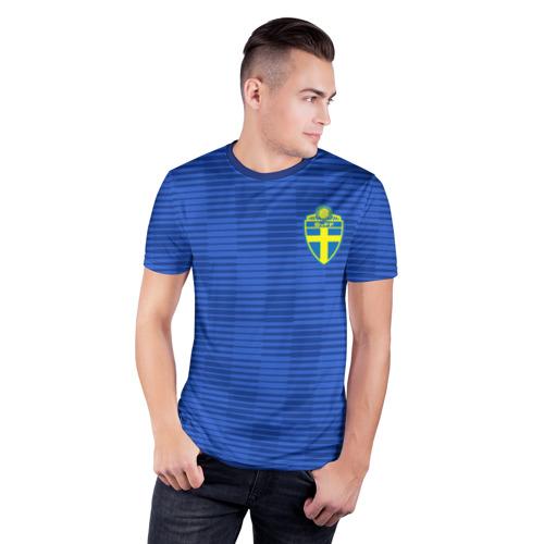 Мужская футболка 3D спортивная с принтом Швеция гостевая форма ЧМ 2018, фото на моделе #1