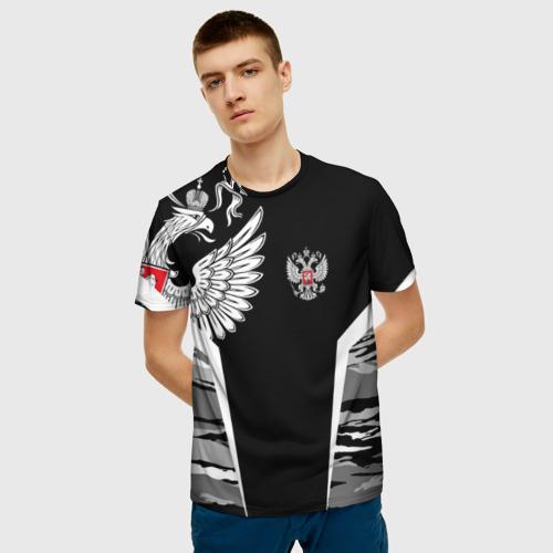 Мужская 3D футболка с принтом Камуфляж Россия, фото на моделе #1