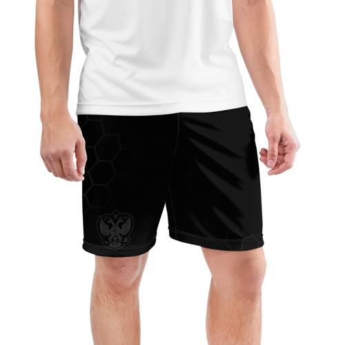 Мужские шорты 3D спортивные с принтом Russia 2018 Shorts (Legend), фото на моделе #1
