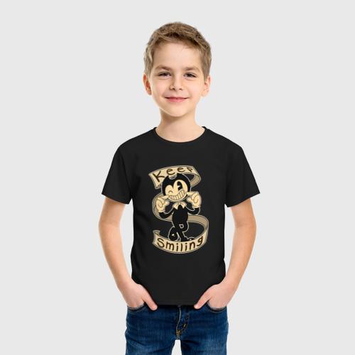 Детская футболка с принтом Bendy and the ink machine, фото на моделе #1