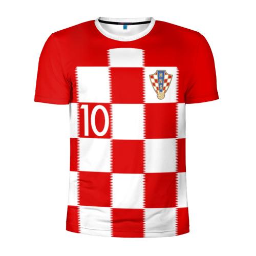 Мужская футболка 3D спортивная с принтом Модрич Хорватия (форма), вид спереди #2