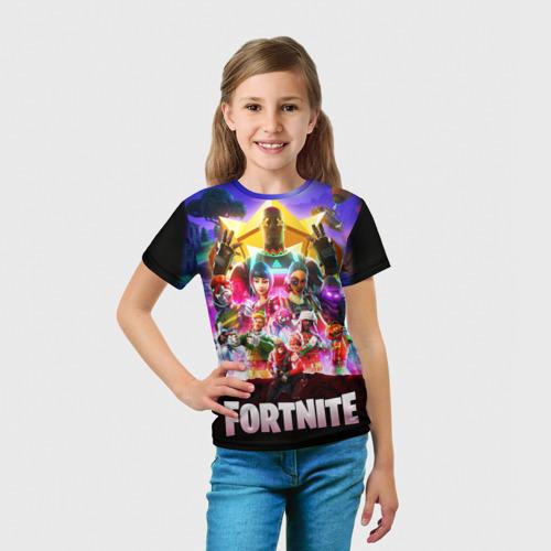 Детская 3D футболка с принтом Fortnite Королевская Битва, вид сбоку #3