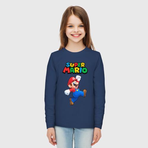 Детский хлопковый лонгслив с принтом SUPER MARIO, вид сбоку #3