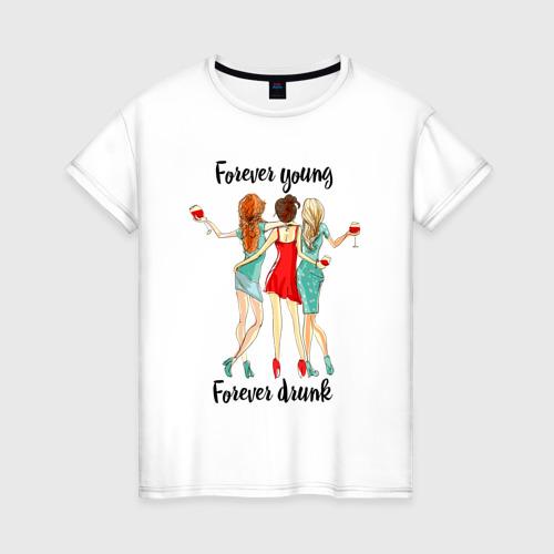 Женская футболка с принтом Три подруги, вид спереди #2