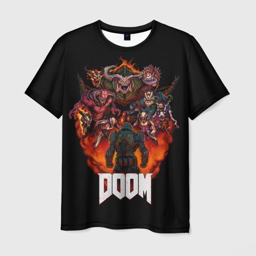 Мужская 3D футболка с принтом DooM, вид спереди #2