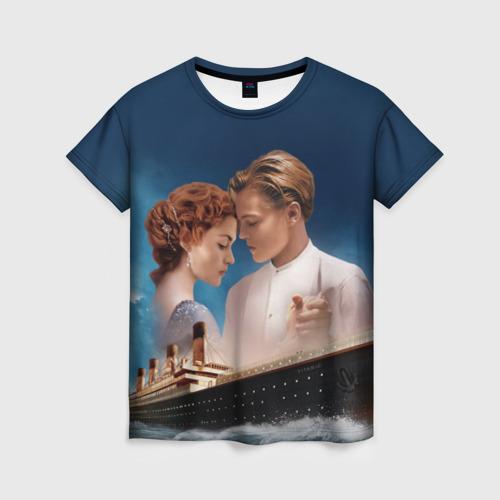 Женская 3D футболка с принтом Титаник, вид спереди #2