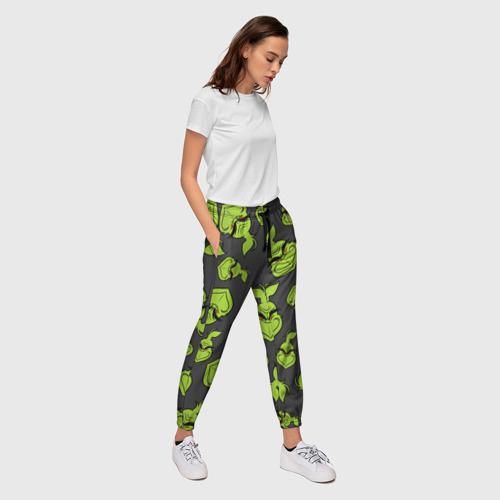 Женские брюки 3D с принтом The Grinch, вид сбоку #3