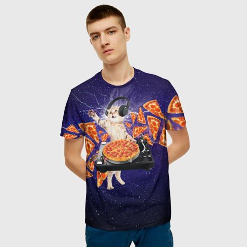 Мужская 3D футболка с принтом Пицца - Кот, фото на моделе #1
