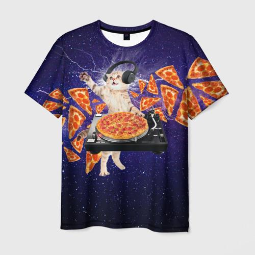 Мужская 3D футболка с принтом Пицца - Кот, вид спереди #2