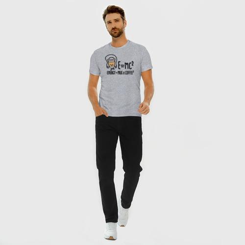 Мужская футболка премиум с принтом Энергия = молоко и кофе 2, вид сбоку #3