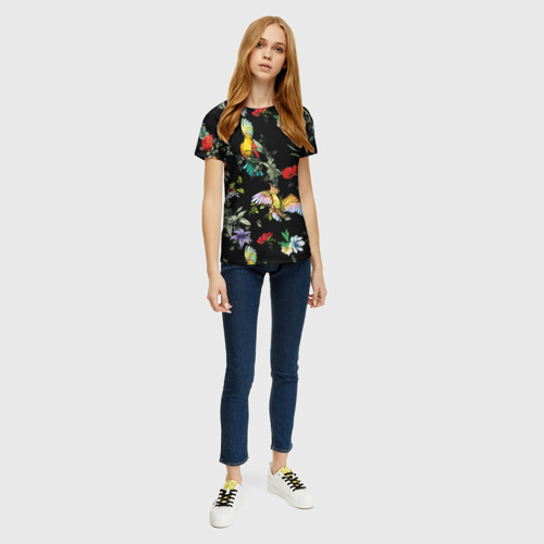 Женская 3D футболка с принтом Попугаи, вид сбоку #3