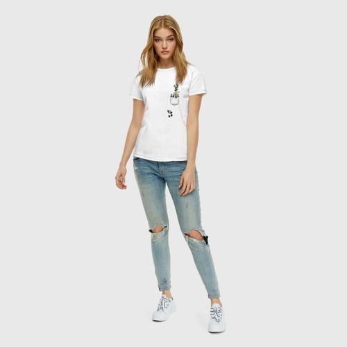 Женская футболка с принтом Панды в кармане, вид сбоку #3