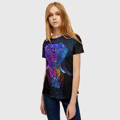 Женская 3D футболка с принтом Слон, фото на моделе #1